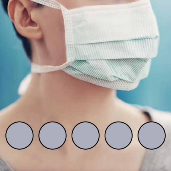 LEIBER-Mund-Nasen-Maske (wiederverwendbar), Bindebänder, hellgrau
