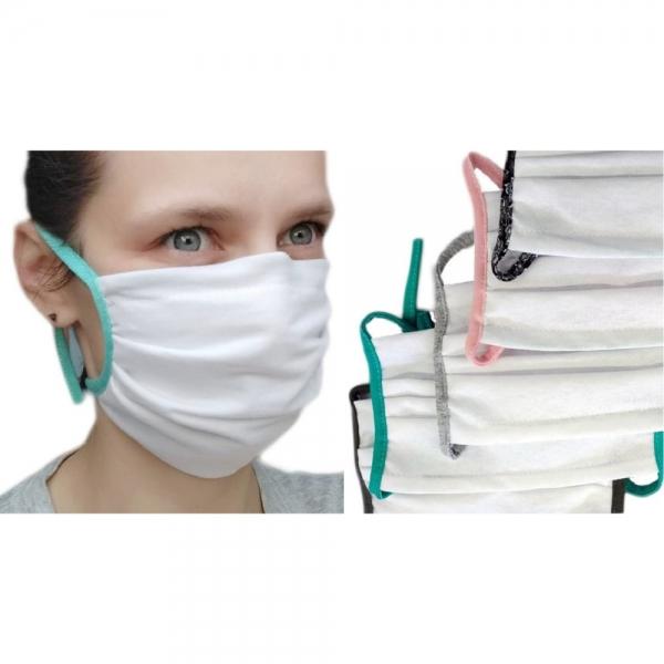 Mehrweg-Baumwoll-Schutzmasken, 2-lagig, weiß (10er Familienpackung)