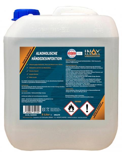 INOX Alkoholische Händedesinfektion für Hände, 5L Kanister