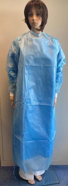 Infektions-Schutzkittel, Einwegkittel, Einmalkittel, PP Vlies / PE, blau, VE = 1 Stück
