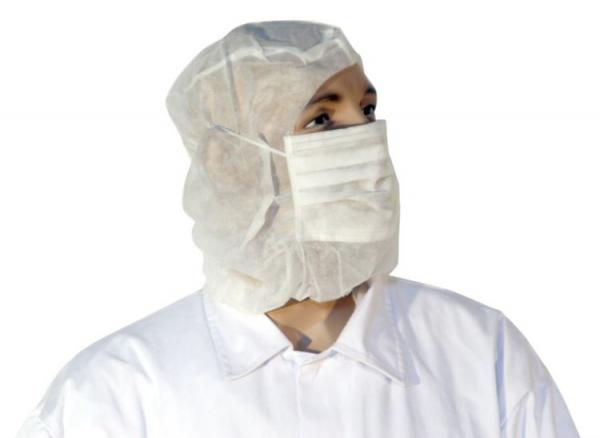 Einweg-Astrohaube mit Mundschutz aus PP-Vlies, weiß, Mundschutz 2-lagig, Beutel á 100 Stk.
