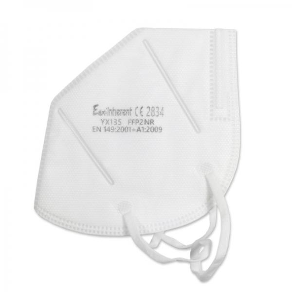 Atemschutzmaske FFP2, einzeln verpackt, weiß VE = 20 Stück