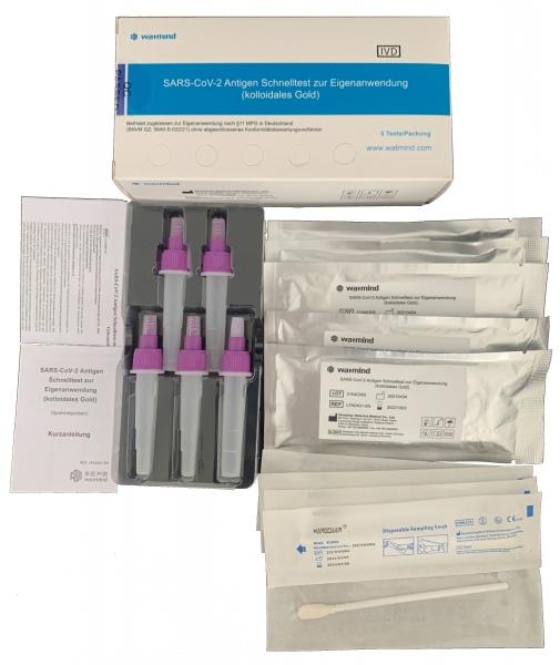 WATMIND - SARS-CoV-2 Antigen Schnelltest zur Eigenanwendung, Verwendung von Speichelproben, 5er Packung