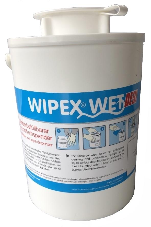 WIPEX-WET DESI FEUTTUCHSPENDER, weiß, Kunstoff, wiederverwendbar, Entnahmeöffnung weiß