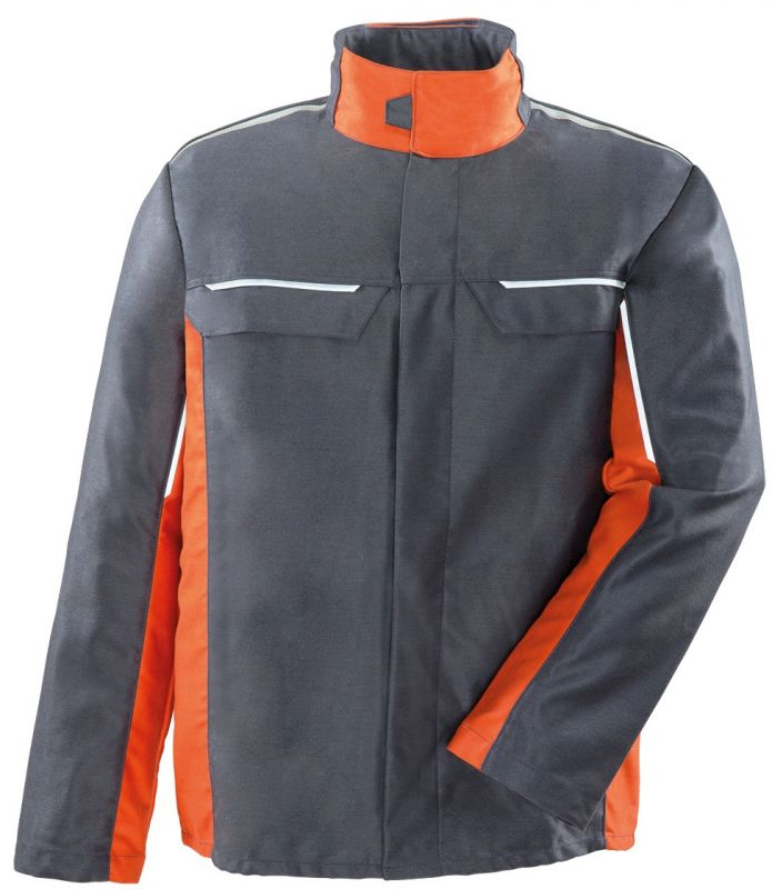 ROFA-Schweißer-Arbeits-Schutz-Berufs-Jacke, ALU Splash, ca. 375 g/m², grau-orange