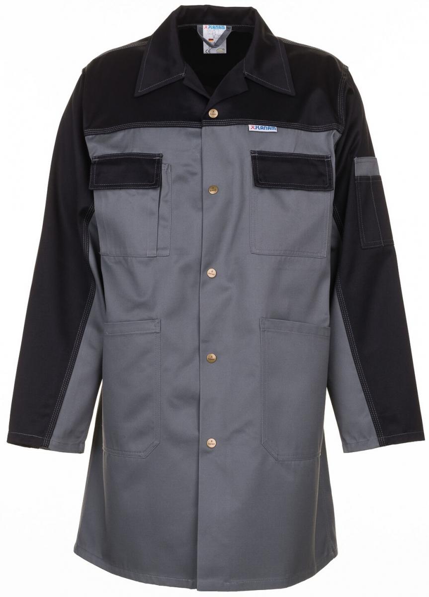 PLANAM Berufs-Mantel, Arbeits-Kittel, TRISTEP, MG 290, grau/schwarz