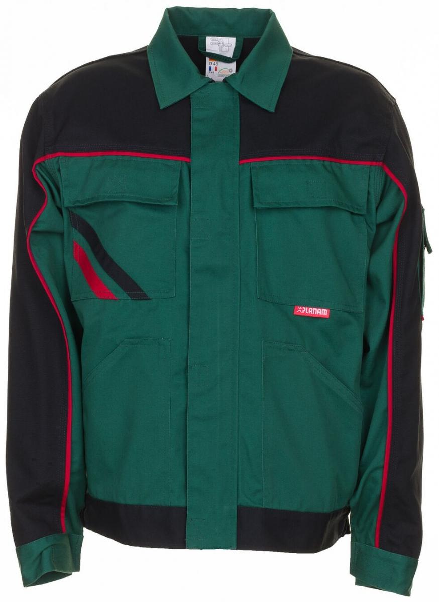 PLANAM Bundjacke, Arbeits-Berufs-Jacke, Highline, 285 g/m², grün/schwarz/rot