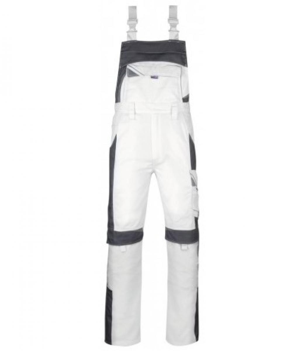 PKA Arbeits-Berufs-Latz-Hose Bestwork, MG260, weiß/grau