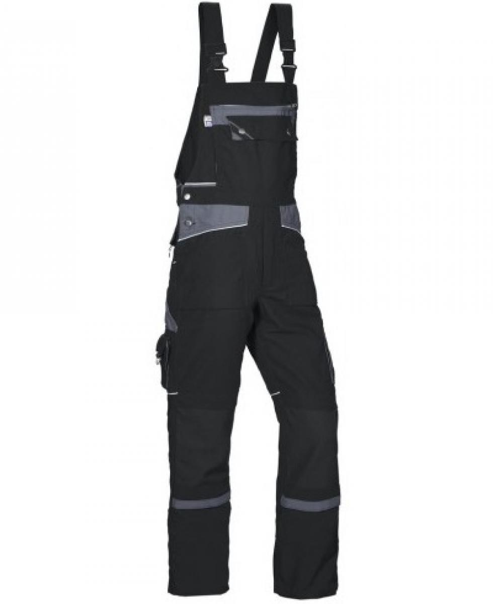 PKA Arbeits-Berufs-Latz-Hose Threeline De Luxe, MG330, schwarz/grau
