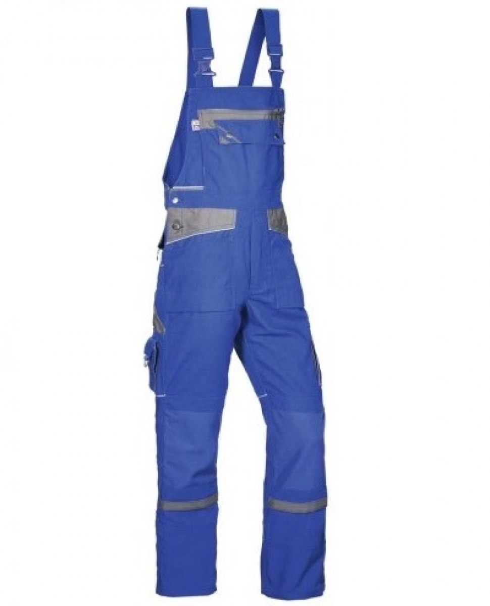 PKA Arbeits-Berufs-Latz-Hose Threeline De Luxe, MG330, kornblau/grau