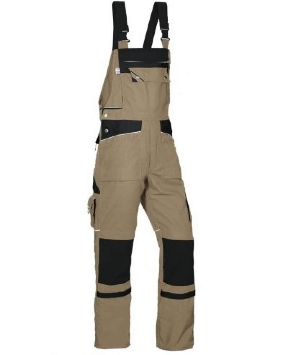 PKA Arbeits-Berufs-Latz-Hose Threeline De Luxe, MG330, khaki/schwarz