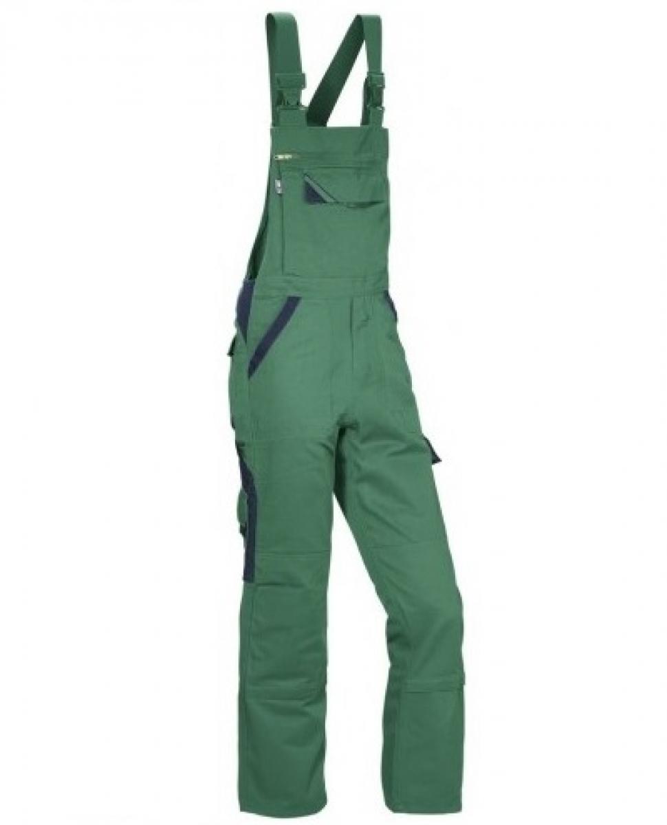 PKA Elastik-Arbeits-Berufs-Latz-Hose Threeline Perfekt, MG320, grün/hydronblau