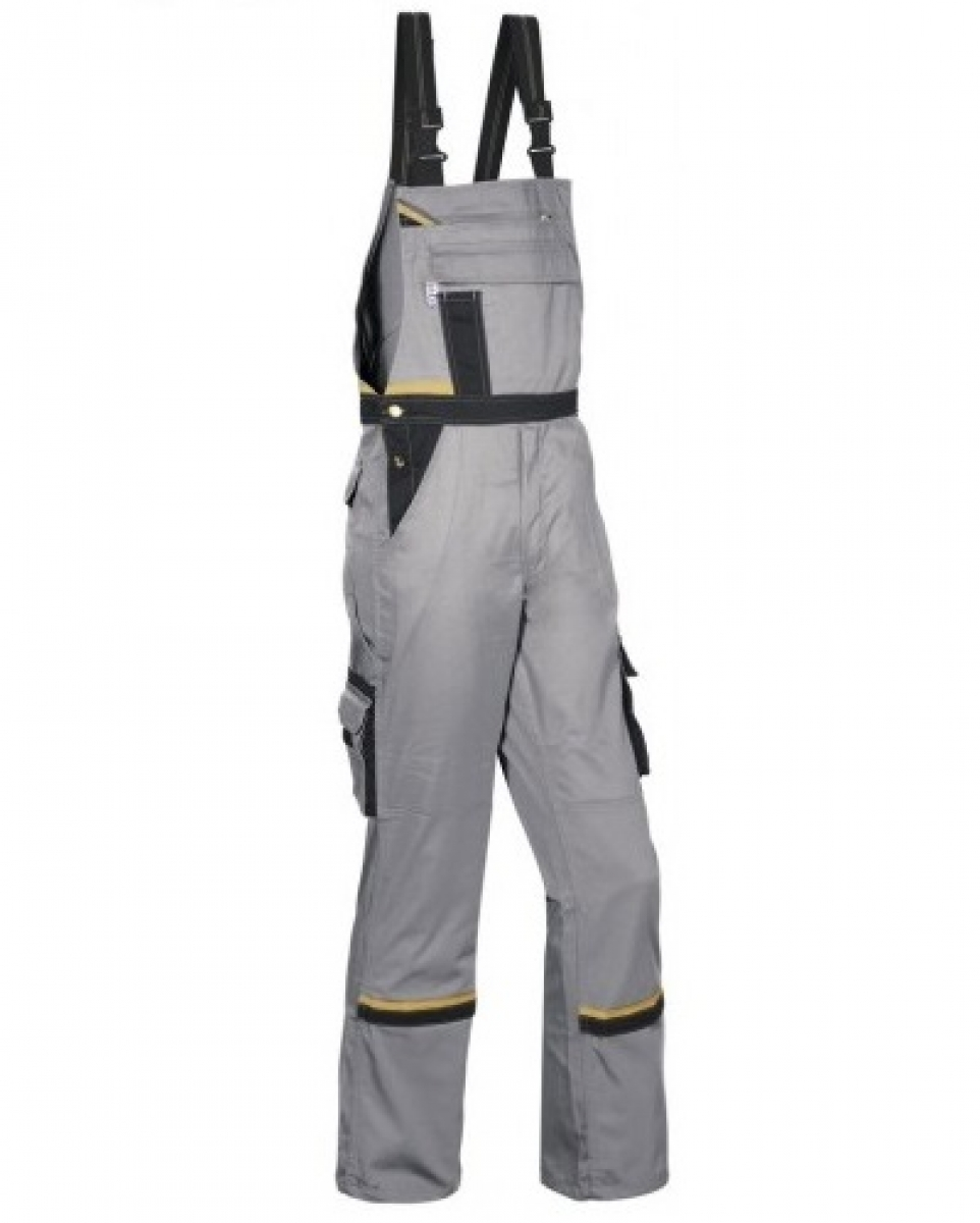 PKA Arbeits-Berufs-Latz-Hose Magic, MG270, grau/schwarz/gelb