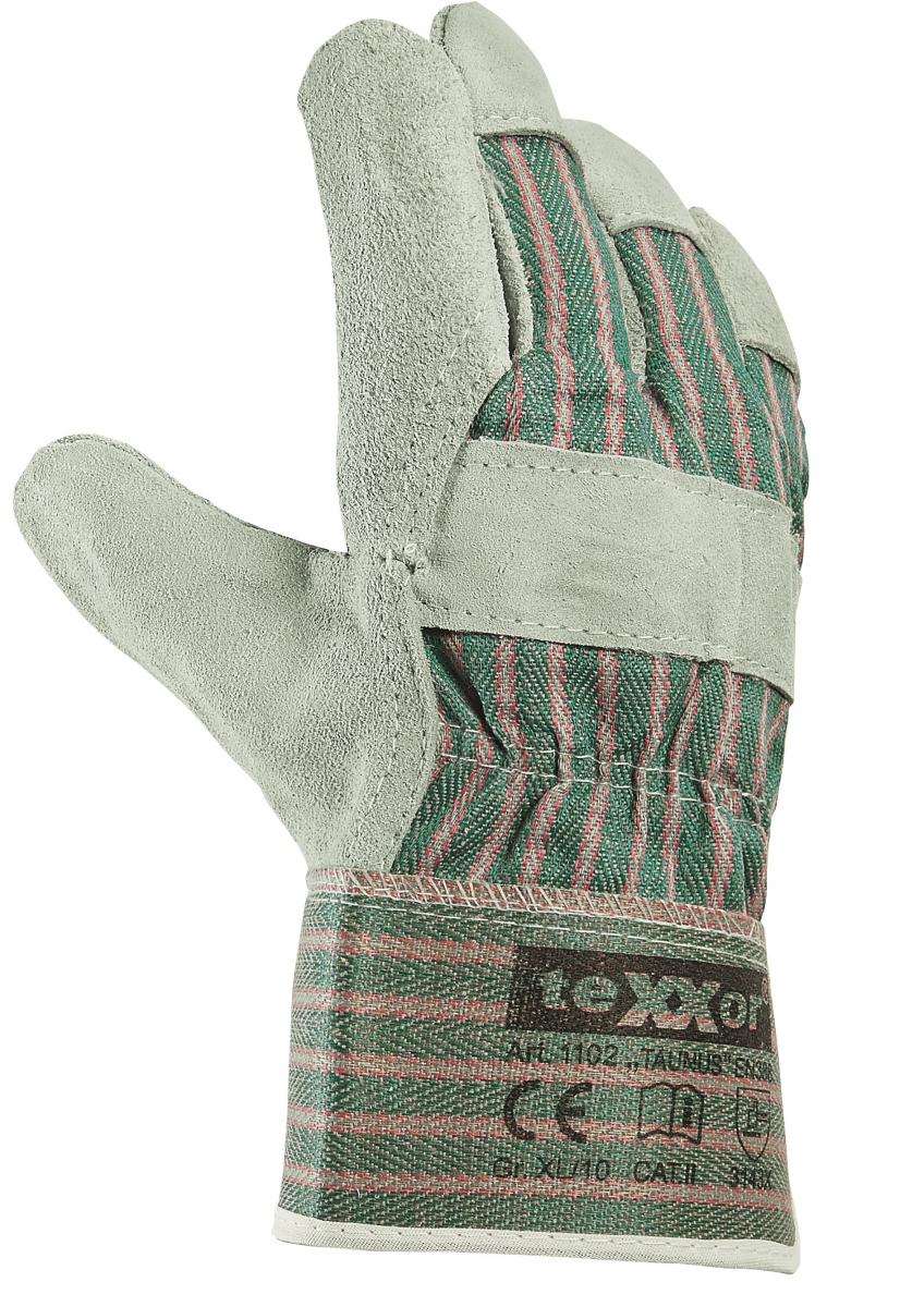 BIG-TEXXOR-Rindkern-Spaltleder-Arbeits-Handschuhe, Taunus, grün/rot gestreifter Drell