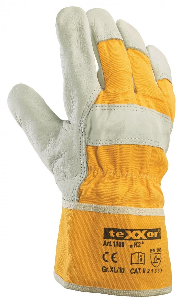 BIG-TEXXOR-Rindvoll-Leder--Arbeits-Handschuhe, K2, gelber Drell