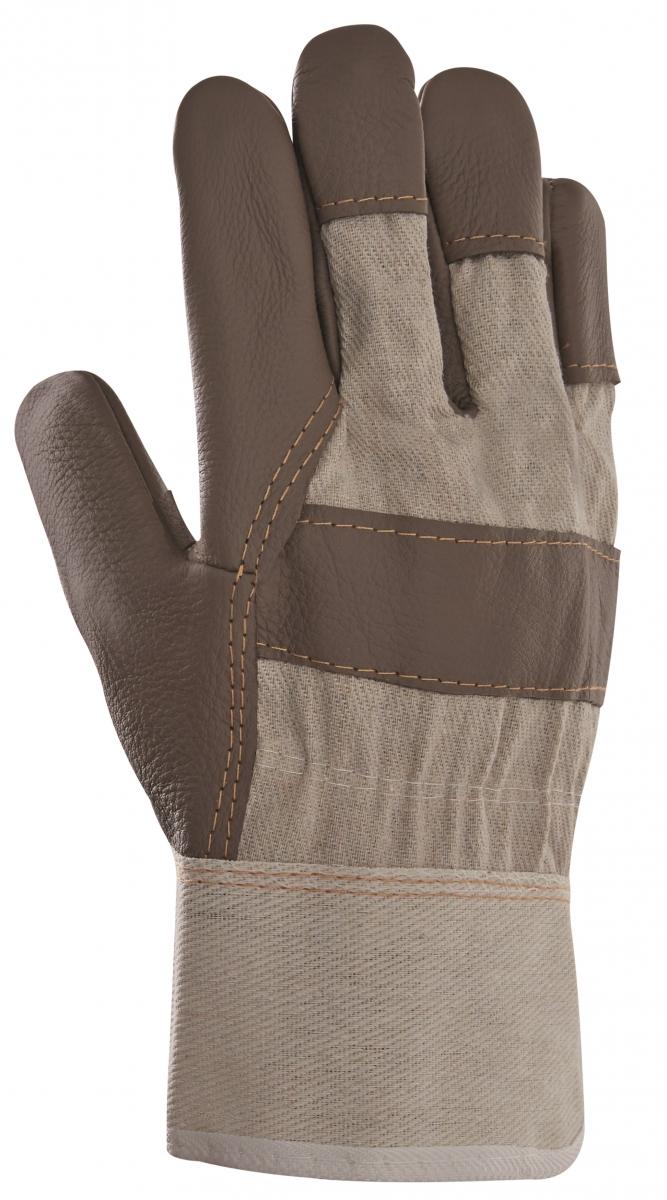 BIG-Möbel-Leder-Arbeits-Handschuhe, braune Farben, weißer Drell