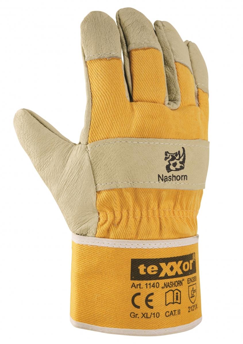 BIG-TEXXOR-Schweinsvoll-Leder-Arbeits-Handschuhe, Nashorn, gelb, gelber Drell