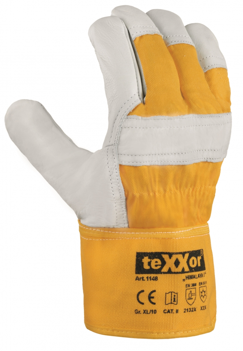 BIG-TEXXOR-Rindvoll-Leder--Arbeits-Handschuhe, Himalaya I, natur, gelber Drell