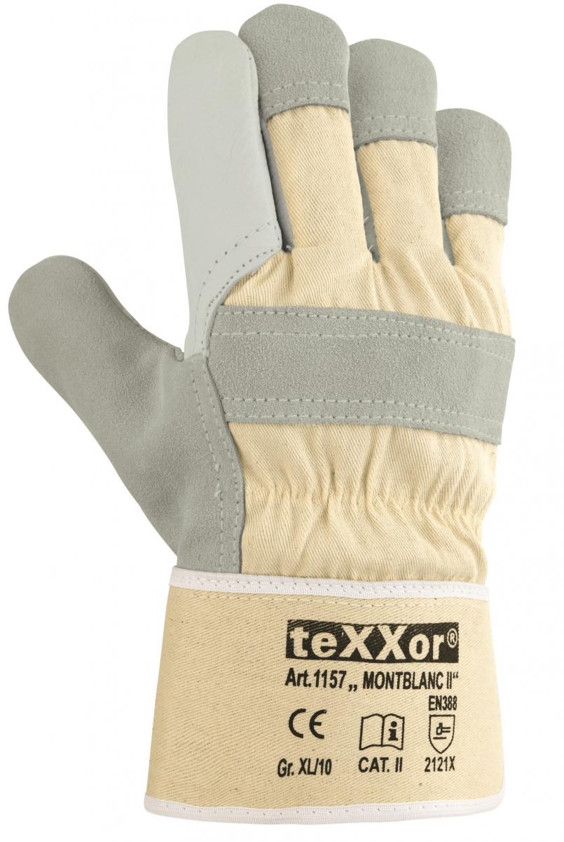 BIG-TEXXOR-Rindvoll-Leder-Arbeits-Handschuhe, Montblanc II, natur, weißer Drell