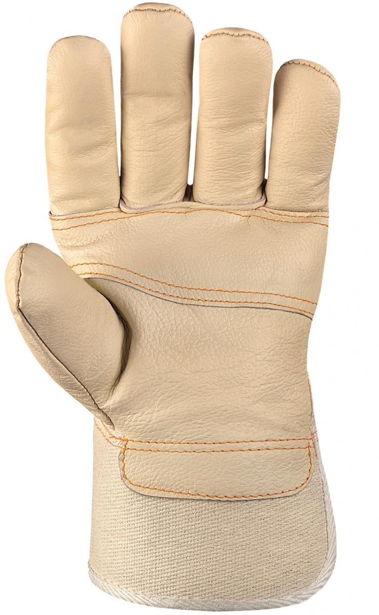 BIG-Möbel-Leder-Arbeits-Handschuhe, helles Leder, weißer Drell