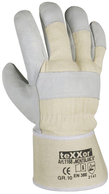 BIG-TEXXOR-Rindvoll-Leder-Arbeits-Handschuhe, Montblanc III, natur, weißer Drell