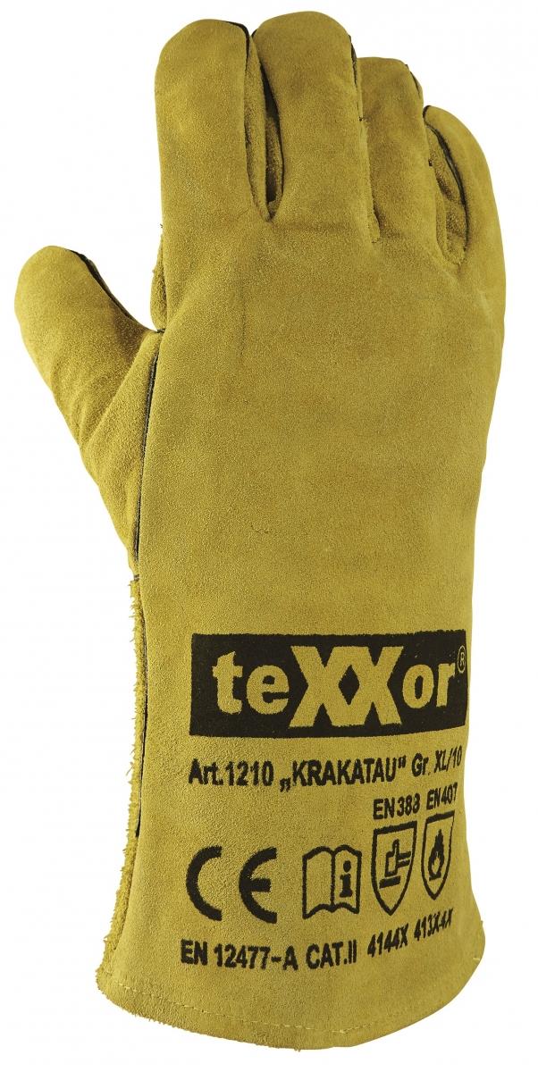 BIG-TEXXOR-Rindspaltleder-Arbeits-Handschuhe, Krakatau, gelb