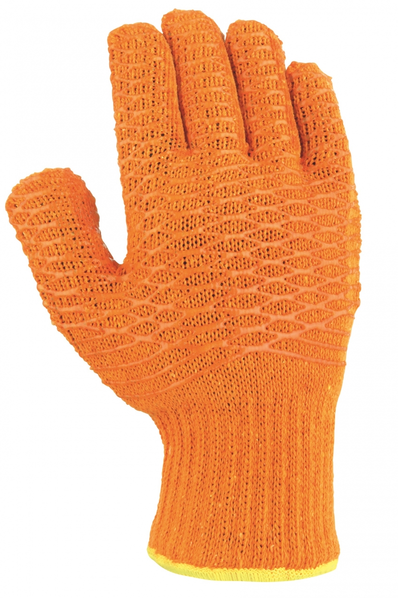 BIG-TEXXOR-Polyester-Grobstrick-Arbeits-Handschuhe, Criss Cross, orange