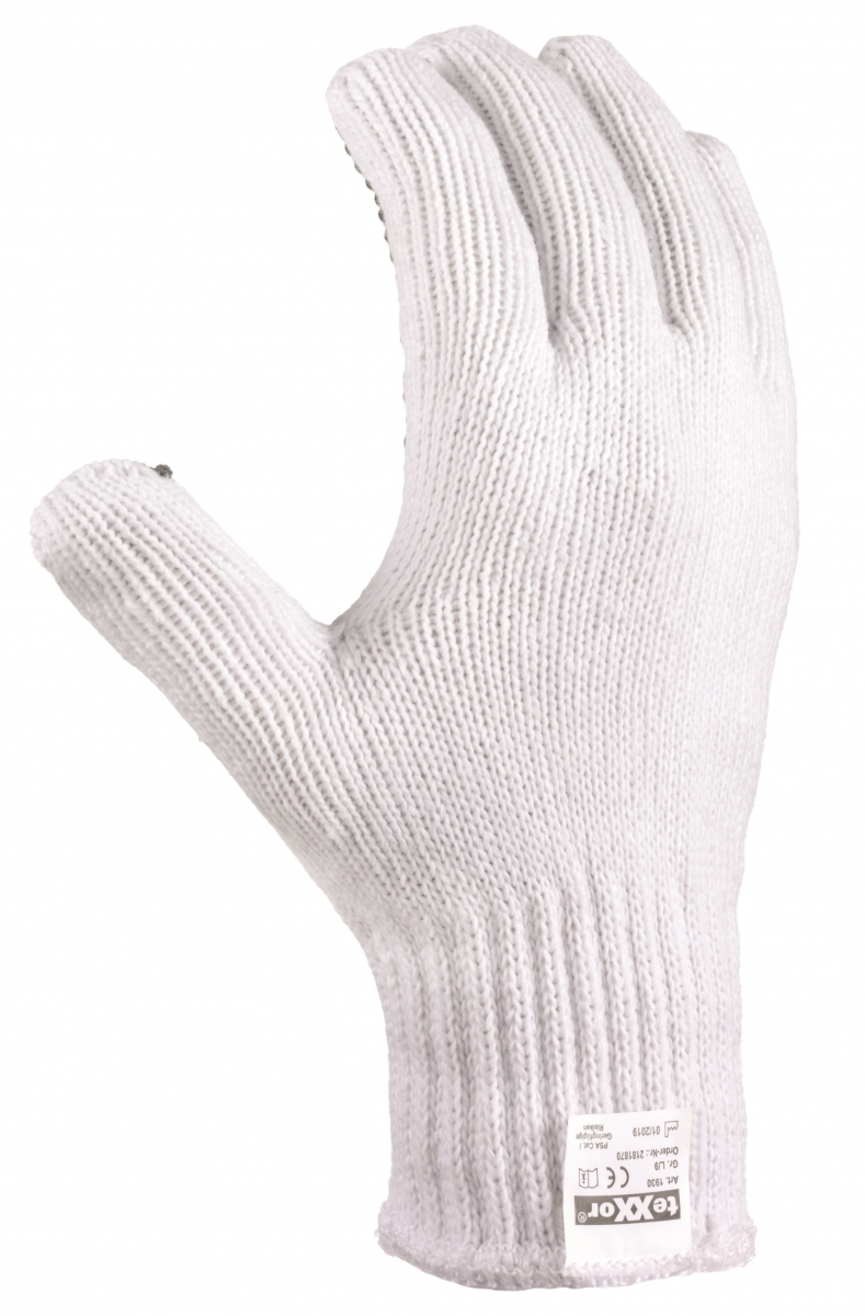 BIG-TEXXOR-Polyester-Grobstrick-Arbeits-Handschuhe, weiß, schwarze Noppen