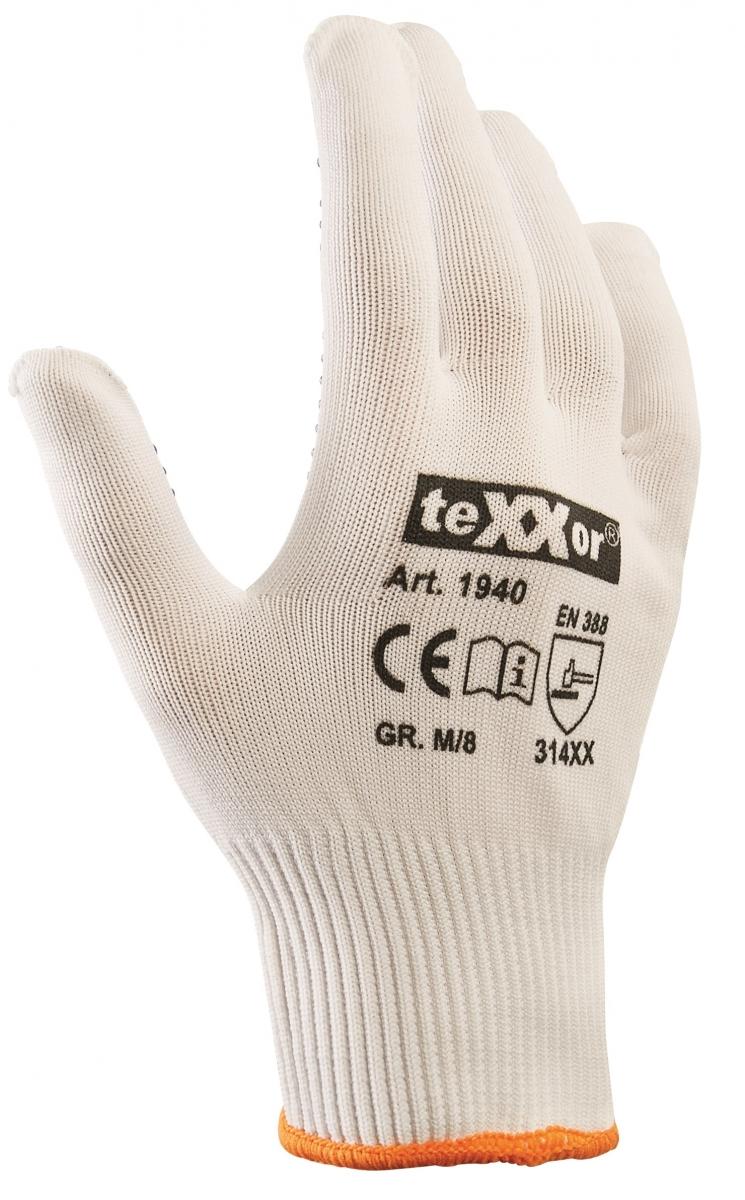 BIG-TEXXOR-Nylon-Feinstrick-Arbeits-Handschuhe, weiß, blaue Noppen