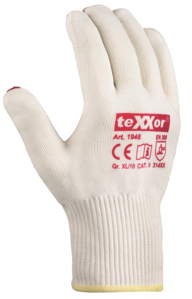 BIG-TEXXOR-Baumwoll-/Nylon-Feinstrick-Arbeits-Handschuhe,, beige, rote Noppen