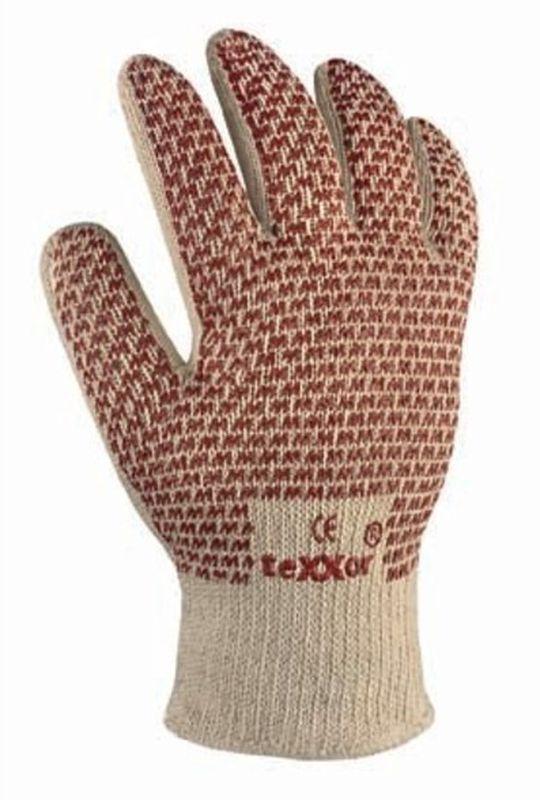 BIG-TEXXOR-Baumwoll-Strick-Arbeits-Handschuhe, beige, rote Noppen