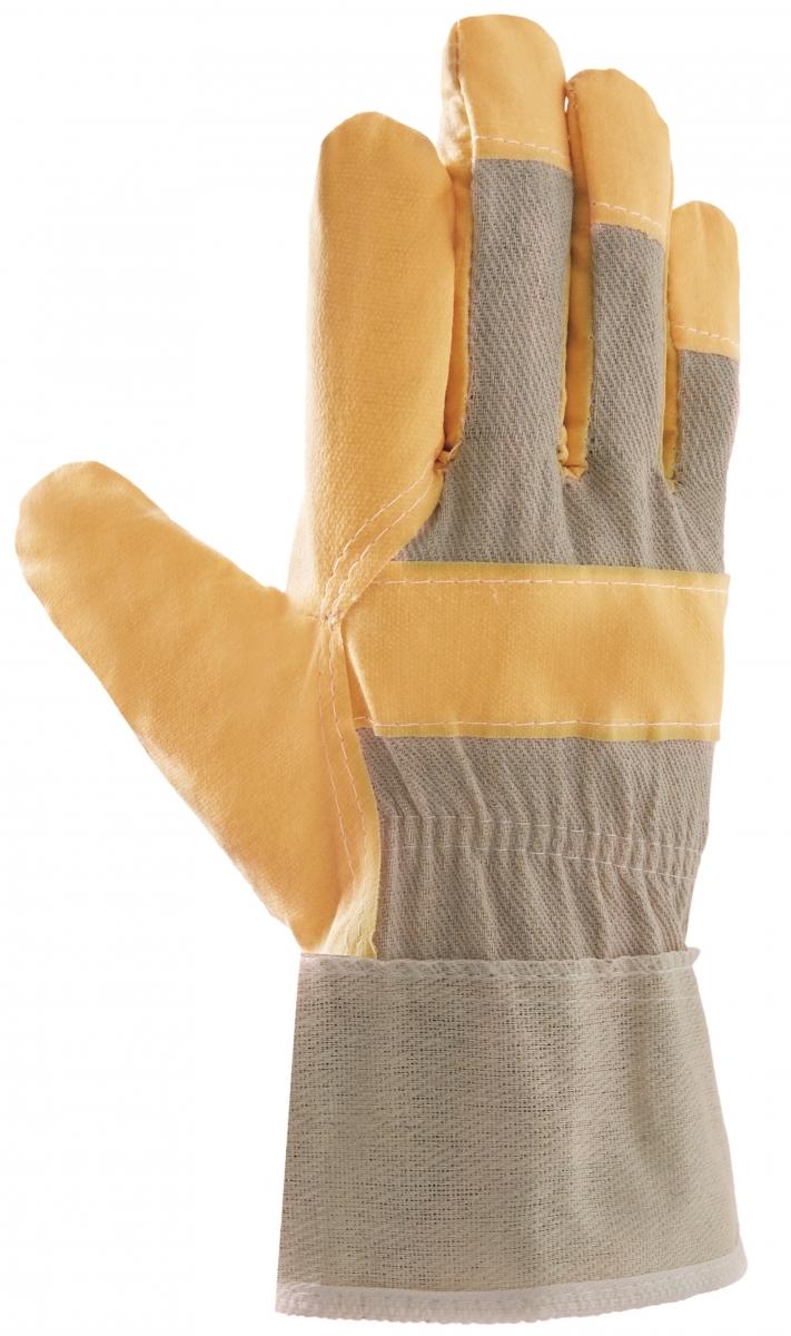 BIG-Kunst-Leder-Arbeits-Handschuhe, 88 PVWA-Top, gelb, weißer Drell