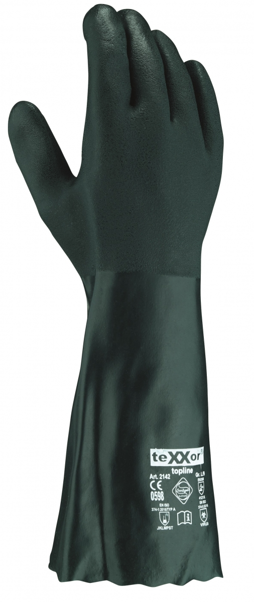 BIG-TEXXOR-Chemikalien-Schutz-Arbeits-Handschuhe, 40 cm, grün