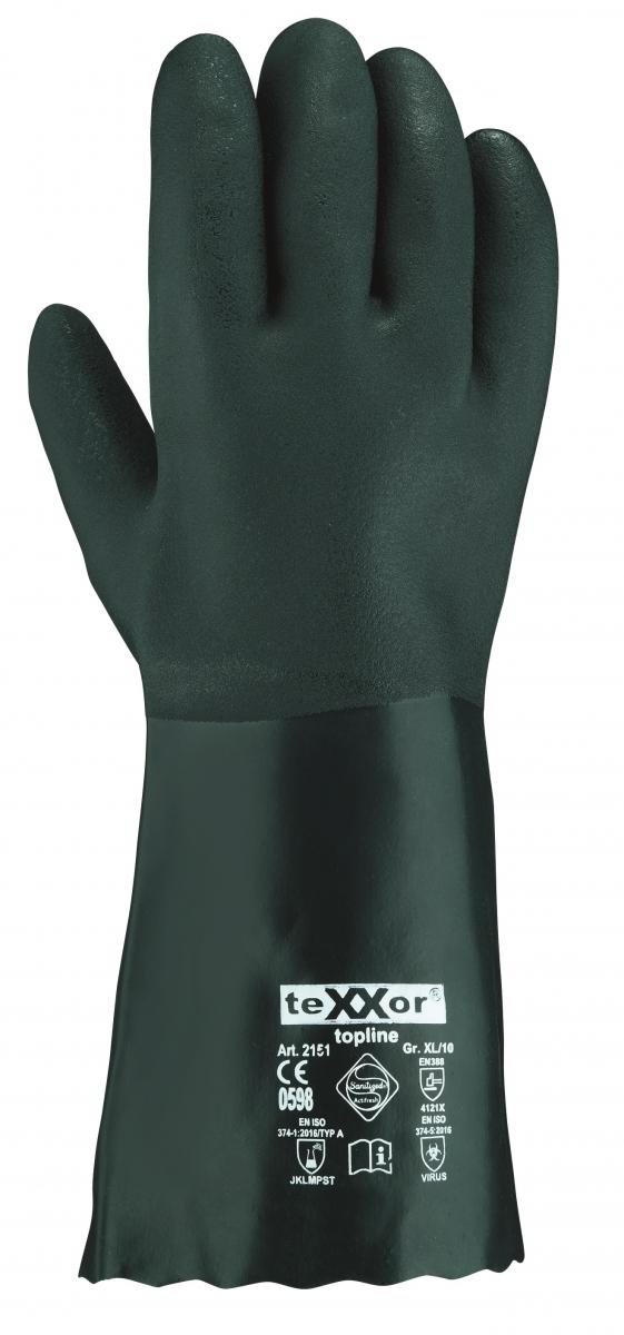 BIG-TEXXOR-Chemikalien-Schutz-Arbeits-Handschuhe, 35 cm, grün