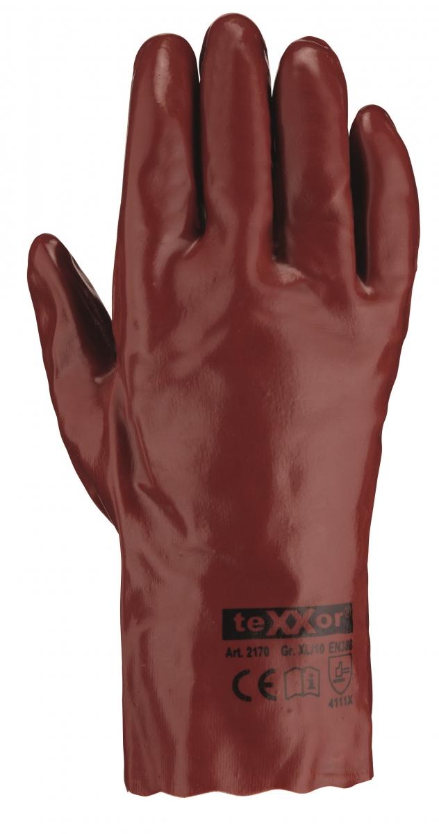 BIG-TEXXOR-PVC-Arbeits-Handschuhe, 27 cm, rotbraun