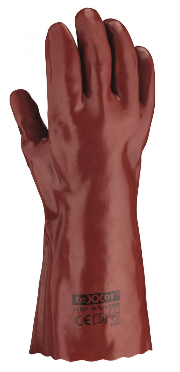 BIG-TEXXOR-PVC-Arbeits-Handschuhe, 35 cm, rotbraun