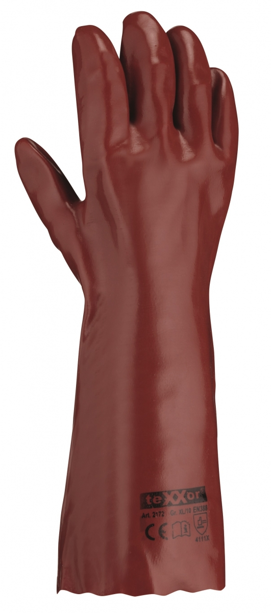 BIG-TEXXOR-PVC-Arbeits-Handschuhe, 40 cm, rotbraun