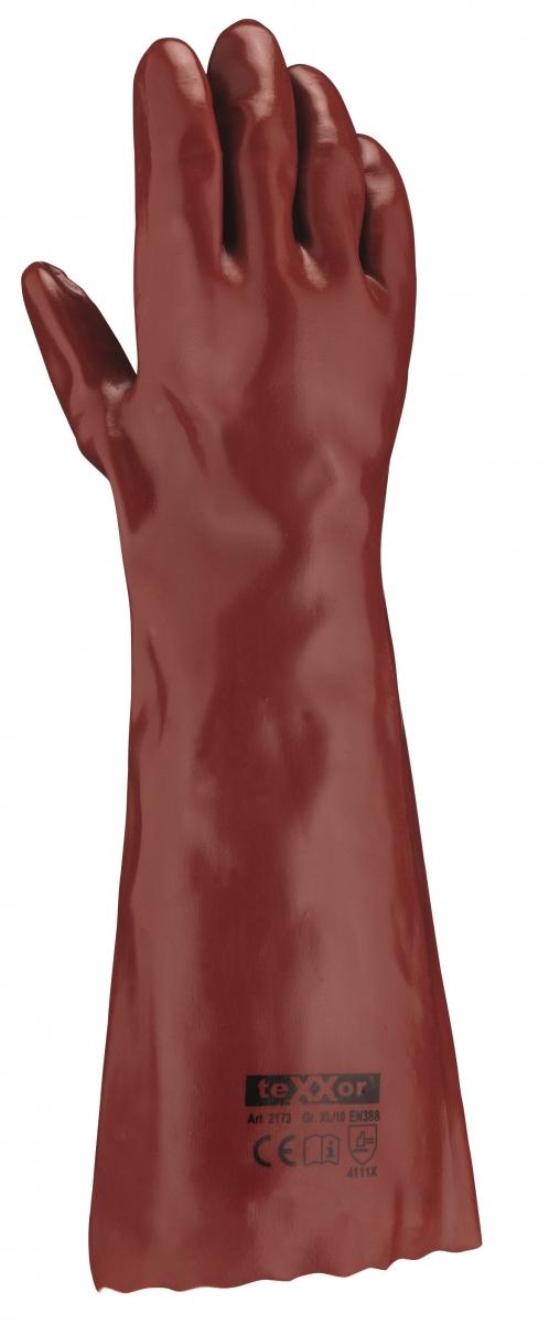 BIG-TEXXOR-PVC-Arbeits-Handschuhe, 45 cm, rotbraun