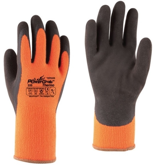 BIG-TOWA-Acryl-Baumwoll-Winter-Arbeits-Handschuhe, Power Grab Thermo, orange/braun