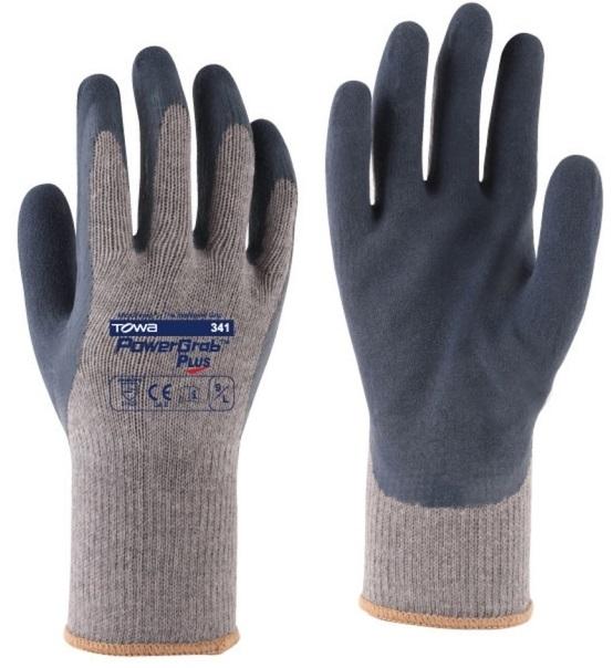 BIG-TOWA-Baumwoll-/Polyester-Arbeits-Handschuhe, PowerGrab Plus, grau/blau