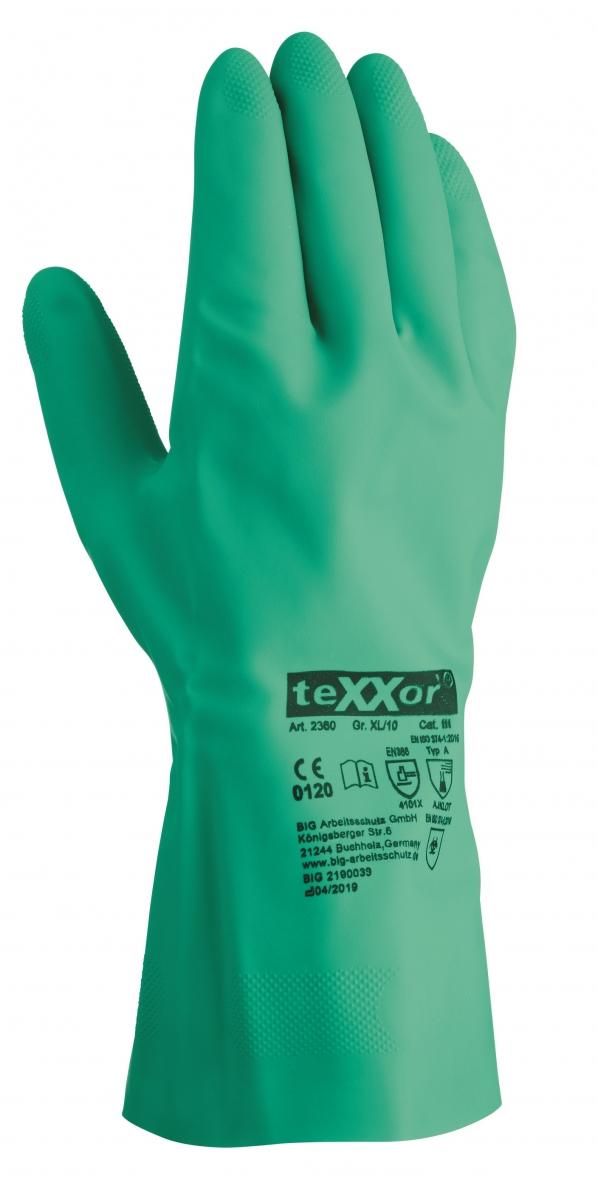 BIG-TEXXOR-Nitril-Chemikalien-Schutz-Arbeits-Handschuhe, grün