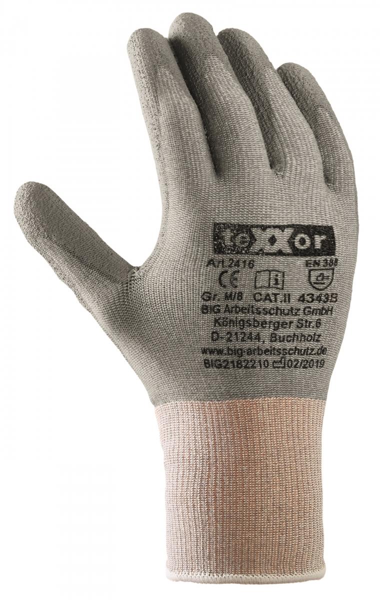BIG-TEXXOR-Schnittschutz-Strick-Arbeits-Handschuhe, grau