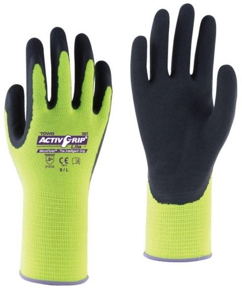 BIG-TOWA-Polyester-Feinstrick-Arbeits-Handschuhe, ActivGrip Lite, gelb/schwarz