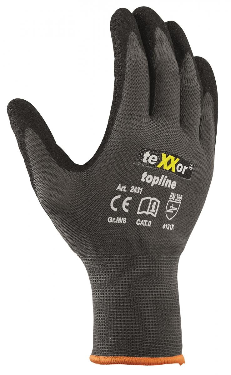 BIG-TEXXOR-Nylon-Strick-Arbeits-Handschuhe, grau/schwarz