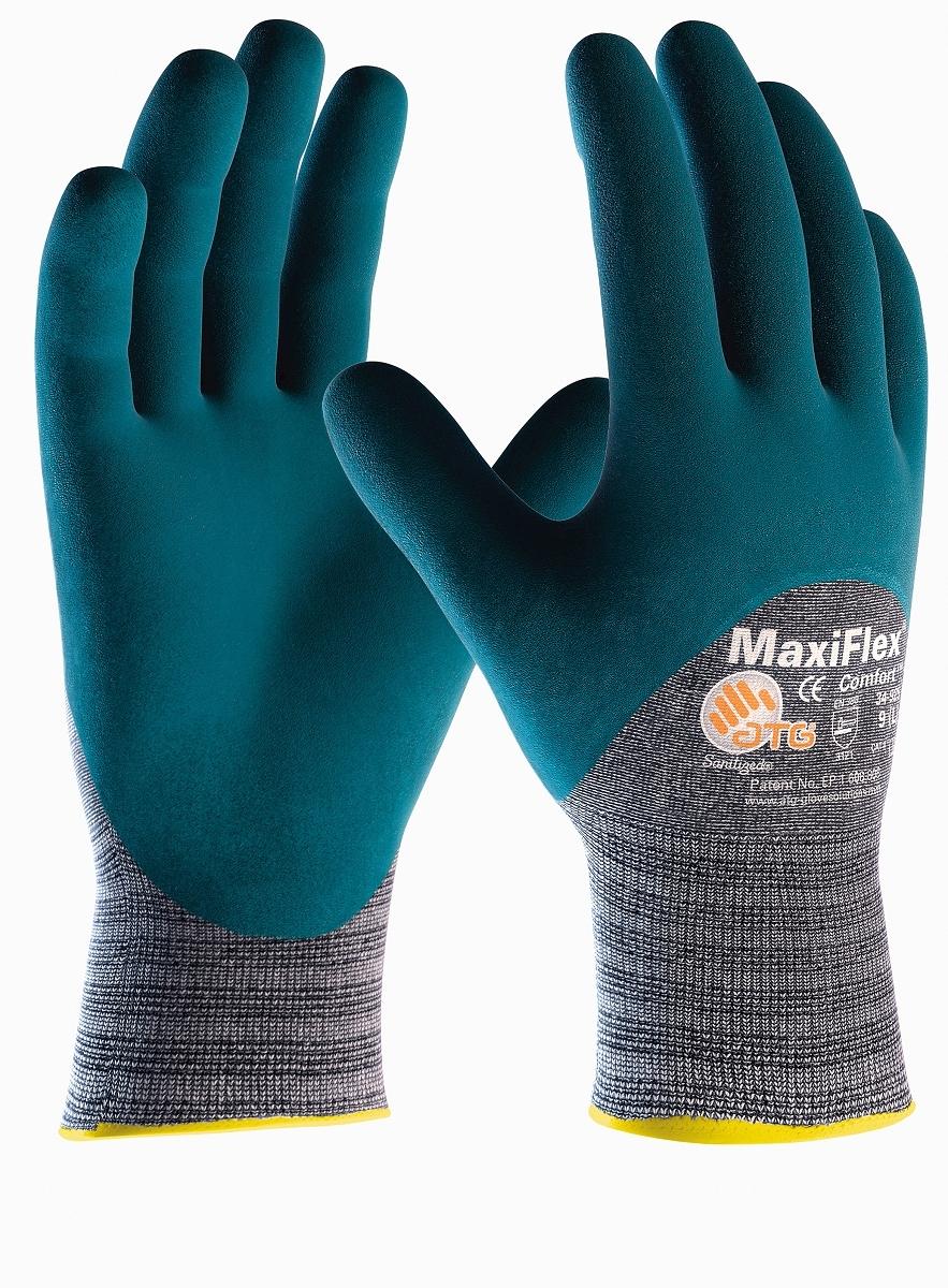 BIG-ATG-Baumwoll-/Nylon-Strick-Arbeits-Montage-Handschuhe, MaxiFlex Comfort, hellgrau/blau