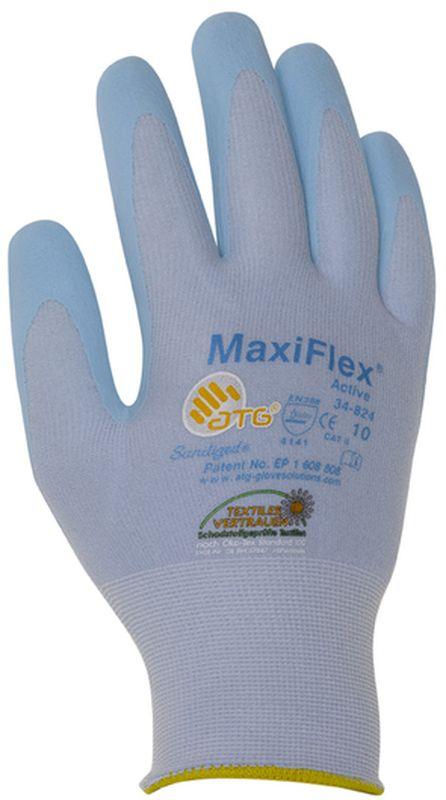 BIG-ATG-Nylon-Strick-Arbeits-Montage-Handschuhe, MaxiFlex Active, hellblau