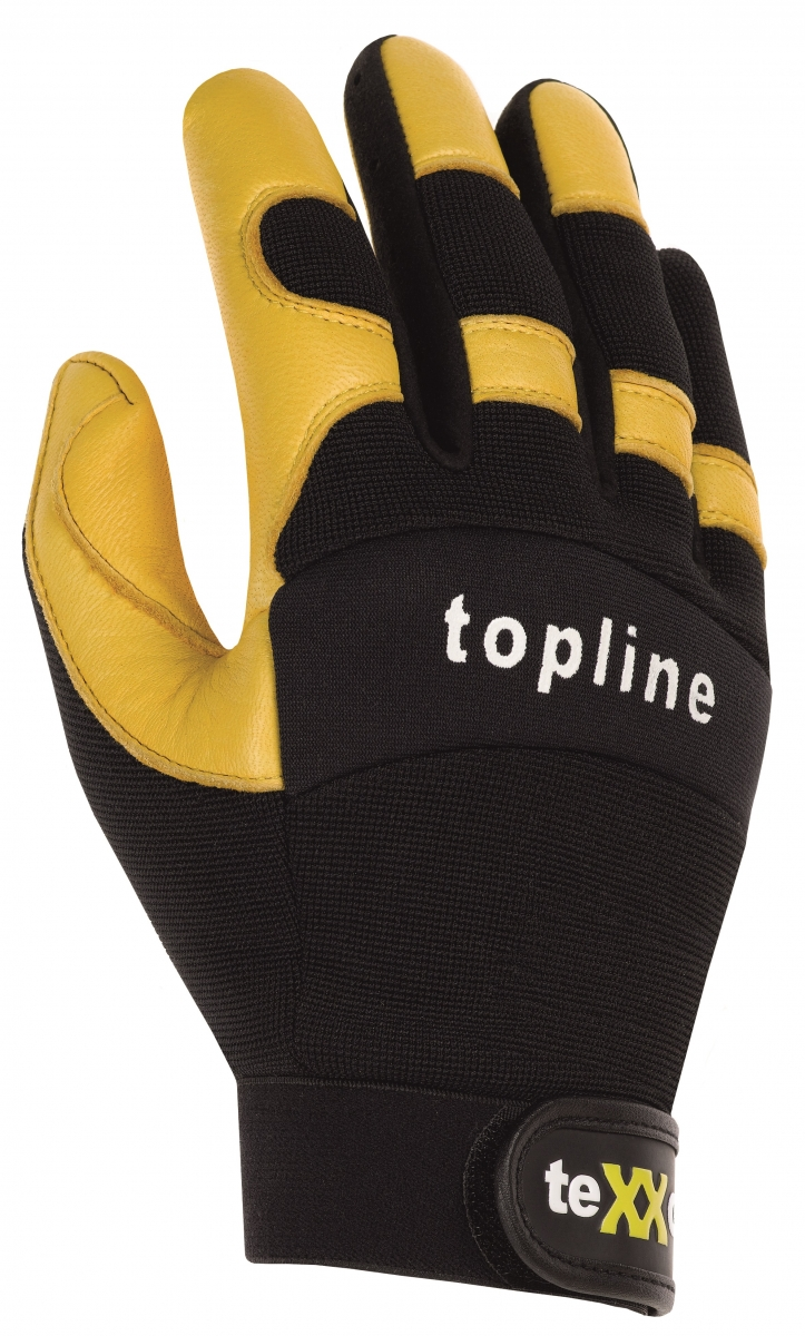 BIG-TEXXOR-Hirsch-Leder-Arbeits-Handschuhe, Tacoma, gelb/schwarz