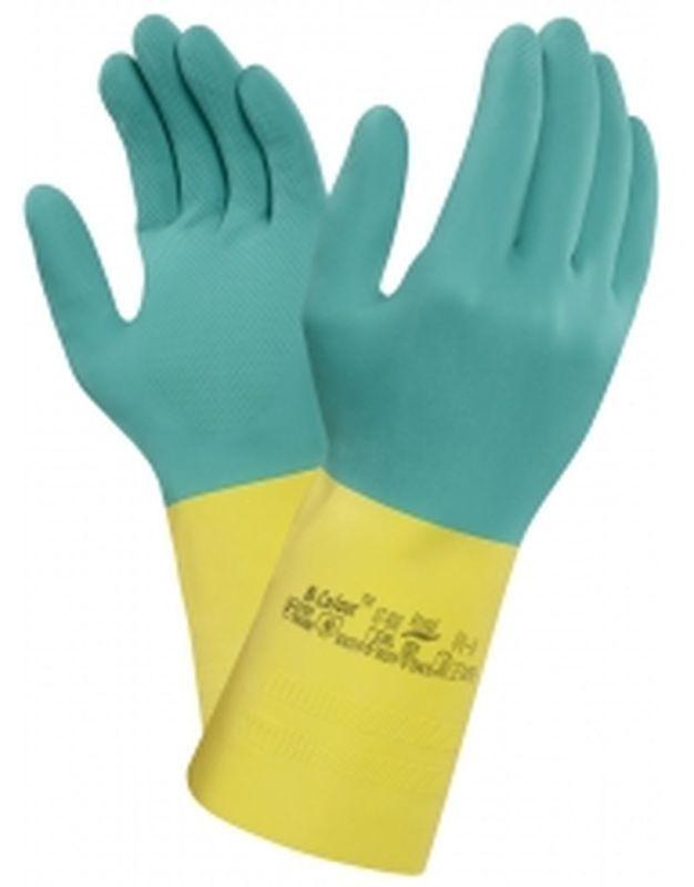 ANSELL Latex-Arbeits-Schutz-Handschuhe, Bi-Colour, Grün