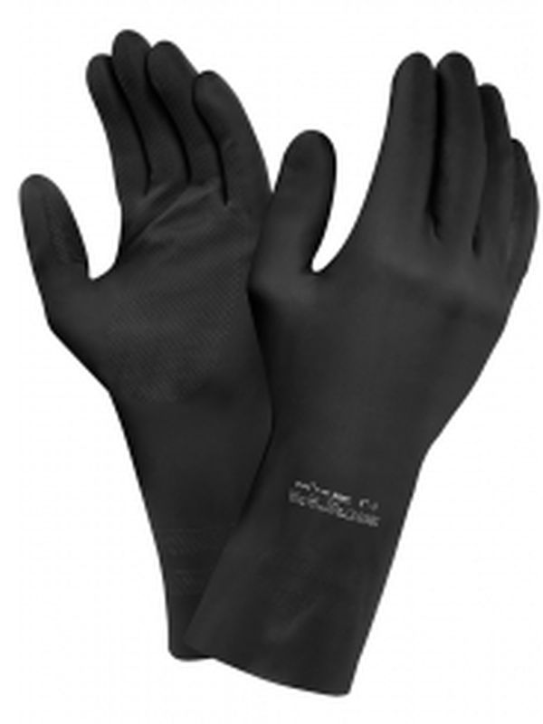 ANSELL Latex-Chemikalien-Arbeits-Schutz-Handschuhe, Arbeitshandschuhe Extra, Schwarz