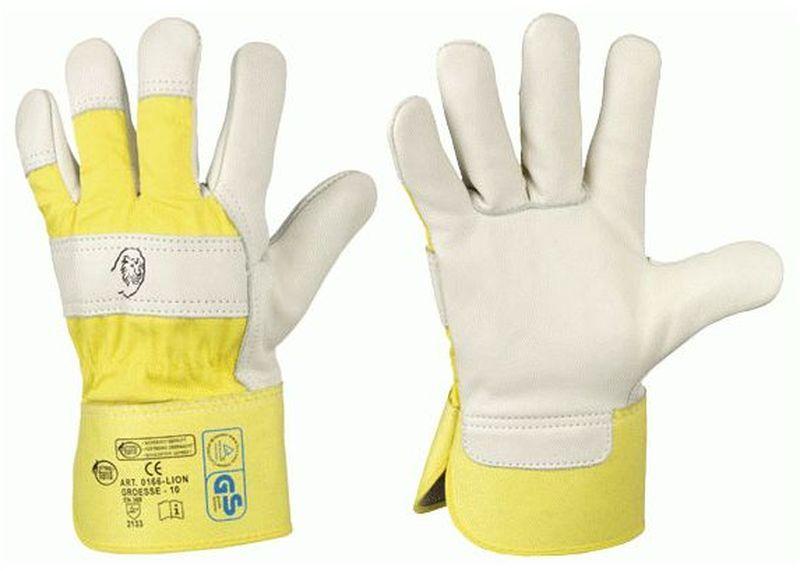 F-STRONGHAND, Rindvoll-Leder-Arbeits-Handschuhe, LION, gelb